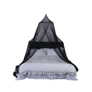 2020 New Design Perfect Sewing 100% Polyester Growing In The Dark Big Stars Black Mosquito Net