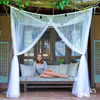 White King Size Four Corner Post Elegant Mosquito Protected Net Bed Canopy