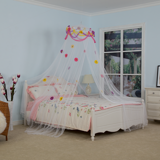 Girls Hanging Mosquito Nets Portable Circular Bedroom Canopy with Flowers