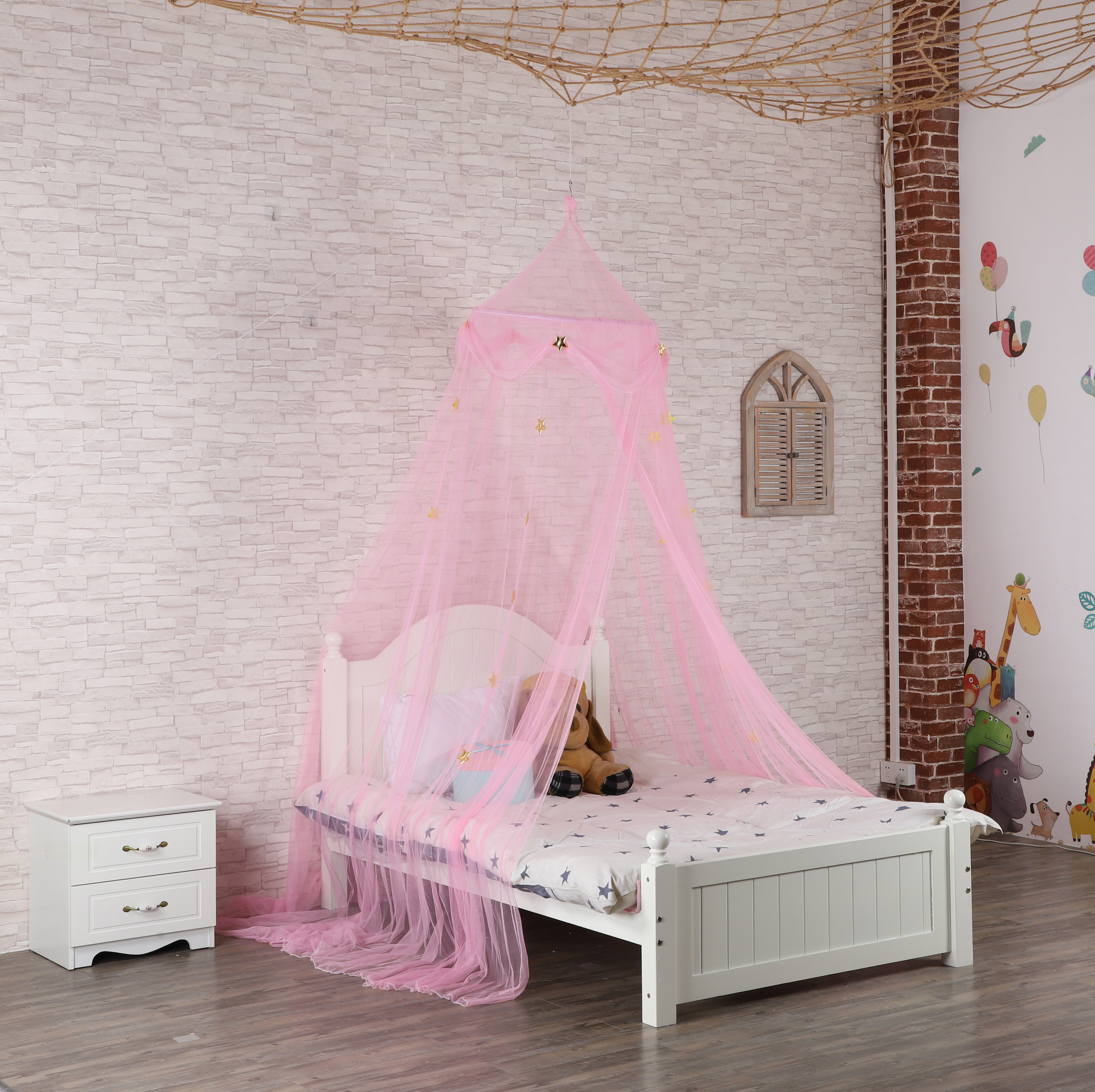 2020 Hot Selling Princess Style Gloden Star Decor Pink Hanging Mosquito Net