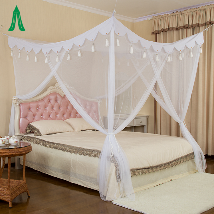 Chinese Supplier Very Large King Size Mosquito Net / Tassel Bed Canopy