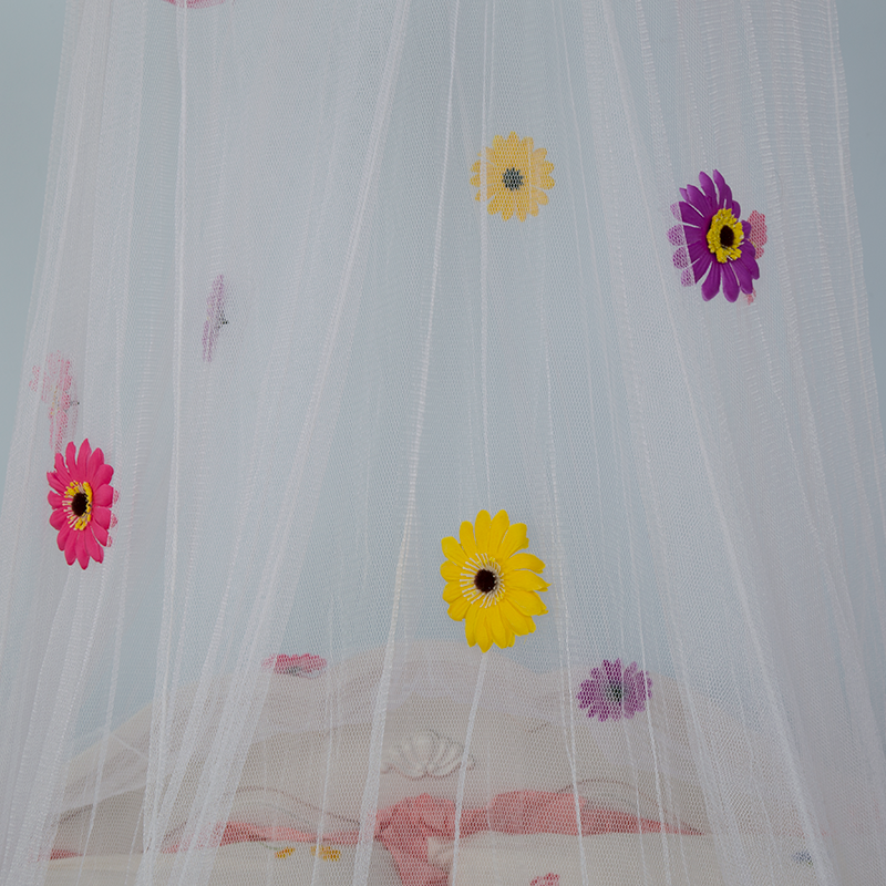 Three-color Flower Design White Sheer Bed Mosquito Net
