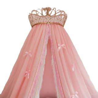New Style Gold Crown Bow Multi-layers Lace Princess Decorative Kids Bed Canopies For Girls