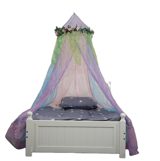 Pink Flower Decoration Bed Canopy Children Girls Favorite Star Print Princess Indoor Bed Curtain Mosquito Net