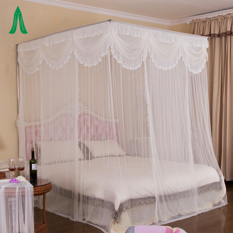Rectangular Palace Romantic Bed Canopy Lace Princess King Size Mosquito Net