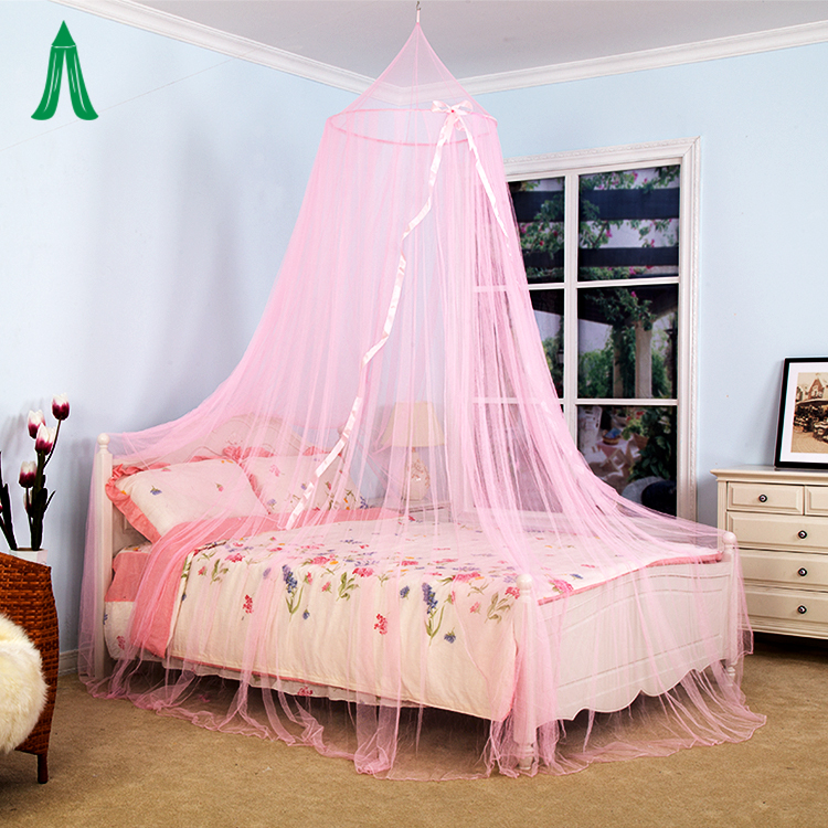 Indoor Outdoor Camping Bedroom King Size Bed Pink Color Mosquito Net