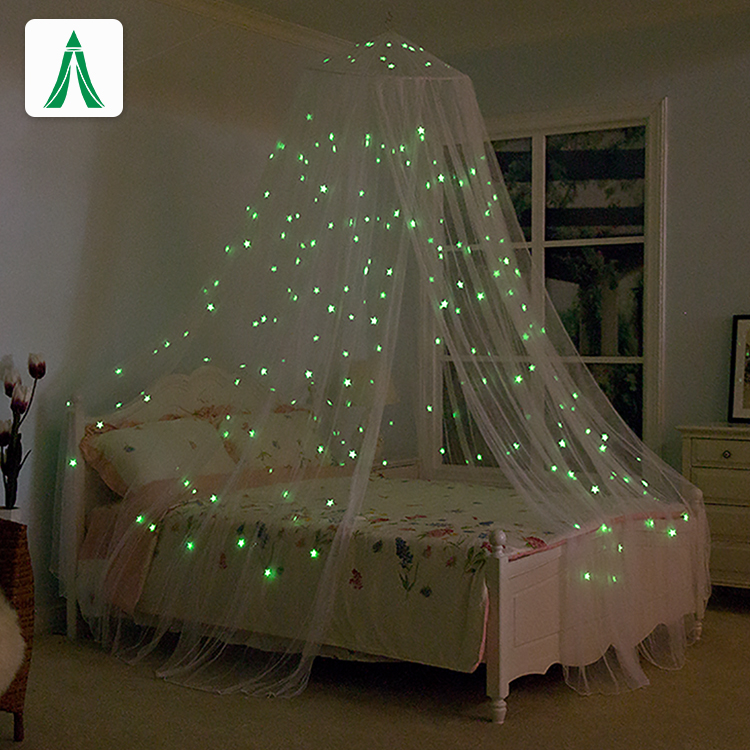 Luminous Stars Luxury Double Bed Mosquito Net Round Top King Size Bed Mosquito Netting