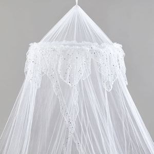 New Design Elegant Conical Bed Canopy Sliver Sequins Mosquito Nets