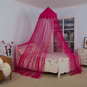 Popular Red Rose Color Crown Bed Canopies Girls Fairy Mosquito Nets for Double Bed