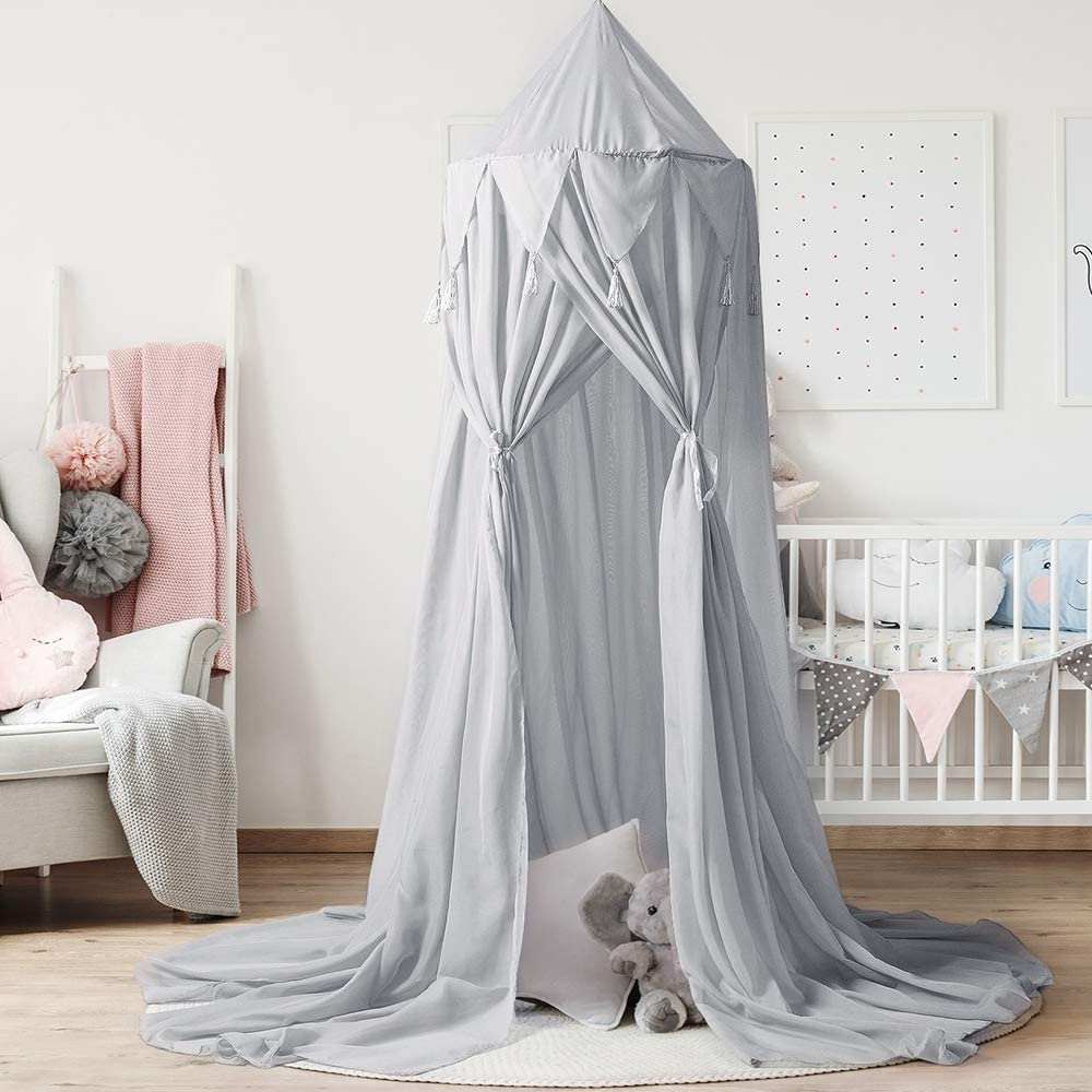 Amazon's Best-selling Hanging Ear Gray Spire Canopy Indoor Home Decoration Children's Playhouse Umbrella Tent With Cotton Fabric